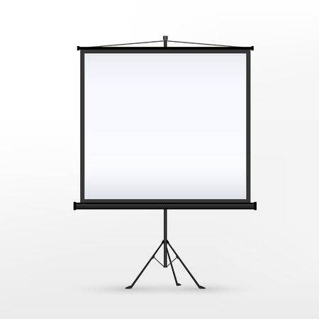 projection screen: 3d blank projection screen template isolated on white background