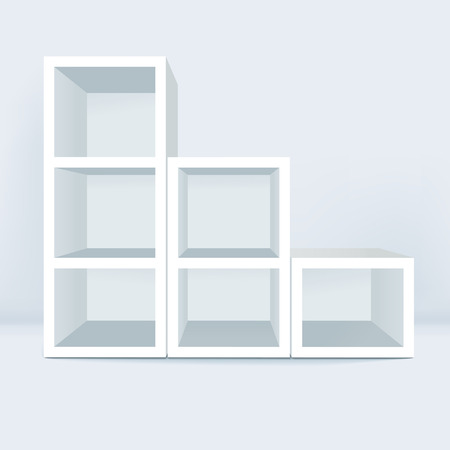 exhibition stand: blank showcase with soft shadow isolated on white background