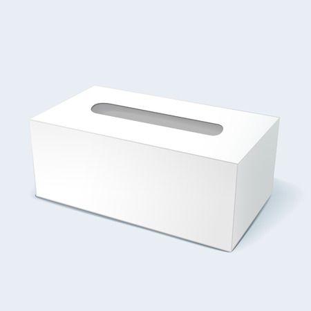 tissue paper: illustration of blank tissue box with soft shadow isolated on white background