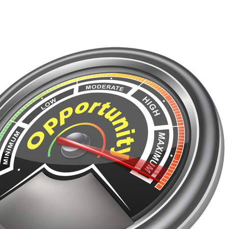 opportunity: opportunity conceptual meter indicator isolated on white background Illustration