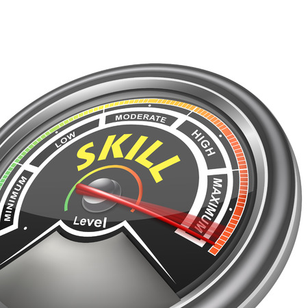 great job: skill conceptual meter indicator isolated on white background Illustration