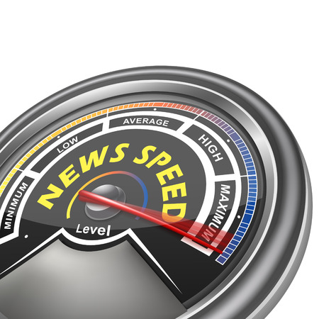 high speed internet: news speed conceptual meter indicator isolated on white background