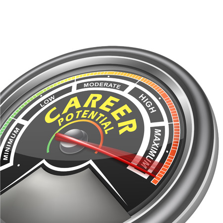 potential: career potential conceptual meter indicator isolated on white background Illustration