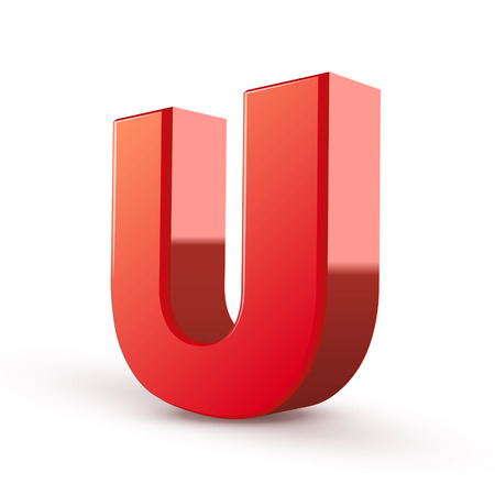 letter u: 3d red letter U isolated white background