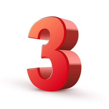 3d shiny red number 3 on white background