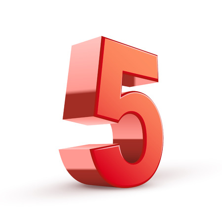big five: 3d shiny red number 5 on white background