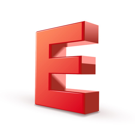 3d red letter E isolated white background