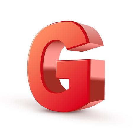 letter g: 3d red letter G isolated white background