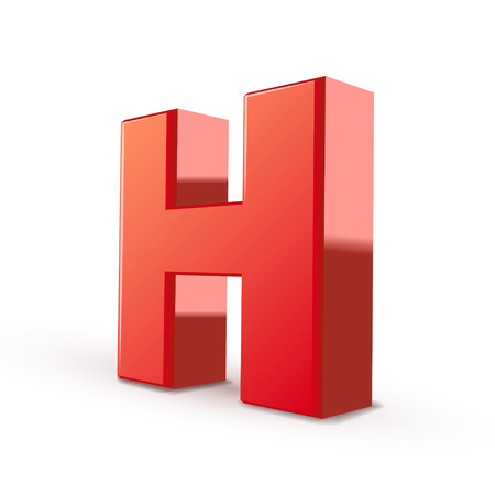 letter h: 3d red letter H isolated white background Illustration