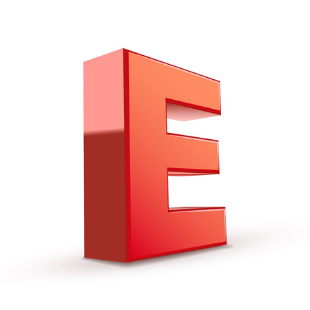 e white: 3d red letter E isolated white background