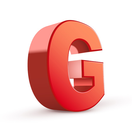 isolated on white background: 3d red letter G isolated white background