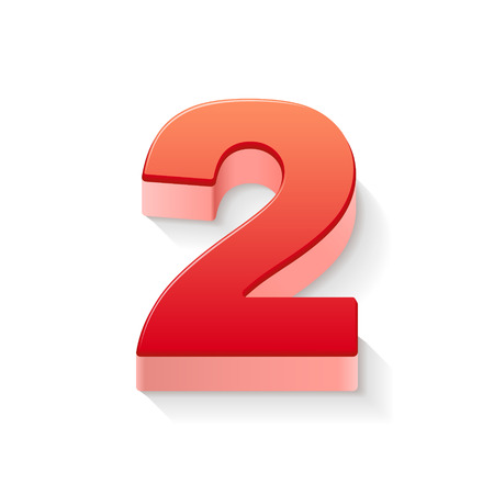 2 objects: 3d shiny red number 2 on white background Illustration
