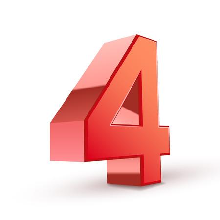 3d lucido rosso numero 4 su sfondo bianco
