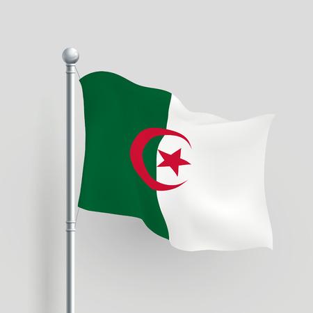 algerian flag: 3d vector Algeria flag blowing in a breeze Illustration
