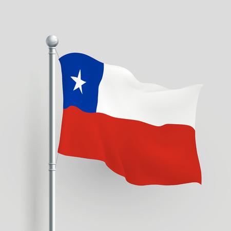 bandera de chile: 3d vector bandera de Chile que sopla en la brisa Vectores