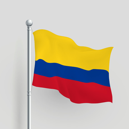 colombia flag: 3d vector Colombia flag blowing in a breeze