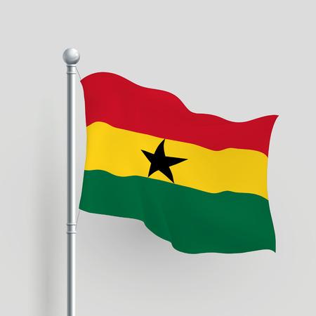 ghana: 3d vecteur Ghana drapeau soufflage dans la brise