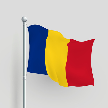all european flags: 3d vector Romania flag blowing in a breeze Illustration