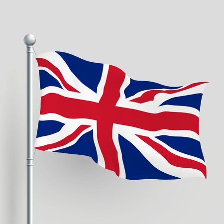 3d vector United Kingdom flag blowing in a breeze Vector