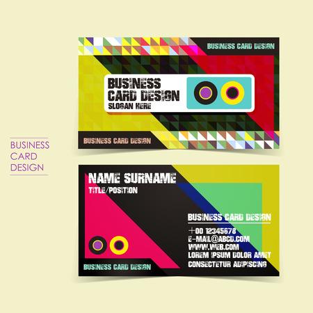 audiotape: pixel background vector business card set template design