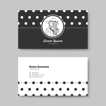 simple girl: vector abstract creative business card design template of classic black