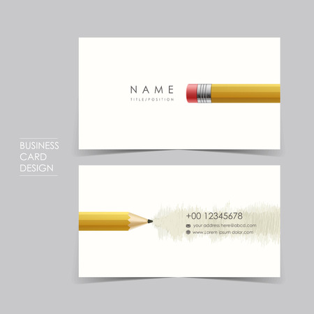 identification card: professional vector business card set template design with pencil