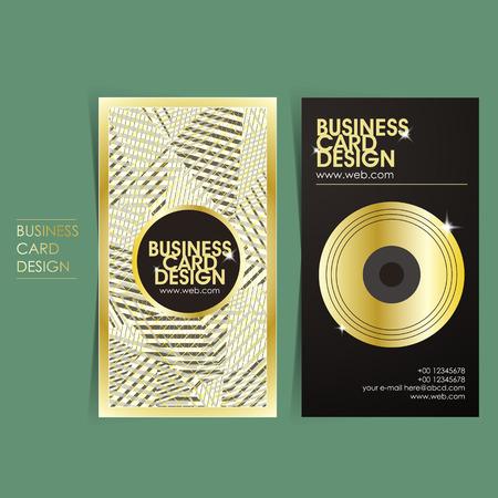 gold record: hip-hop style vector business card set template design Illustration