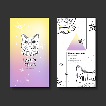 cat call: vector abstract creative business card design template of hand drawn cat Illustration