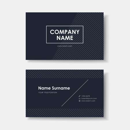 vector abstract creative business card design template of black minimalistic Illustration