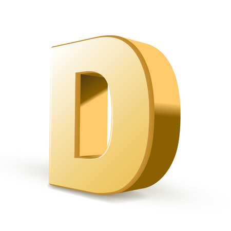 3d golden letter D isolated white background Vector