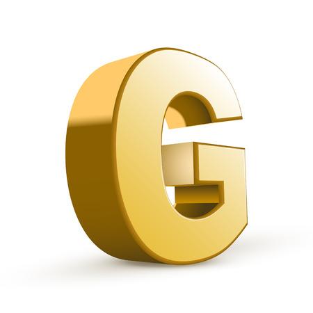 letter g: 3d golden letter G isolated white background