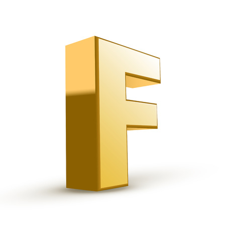 isolated on white background: 3d golden letter F isolated white background