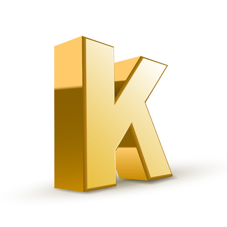 letter k: 3d golden letter K isolated white background Illustration