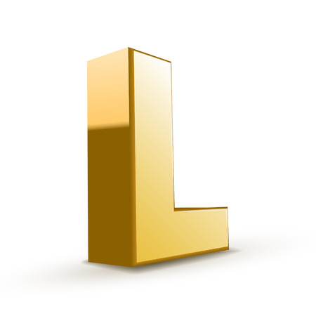 isolated on white background: 3d golden letter L isolated white background