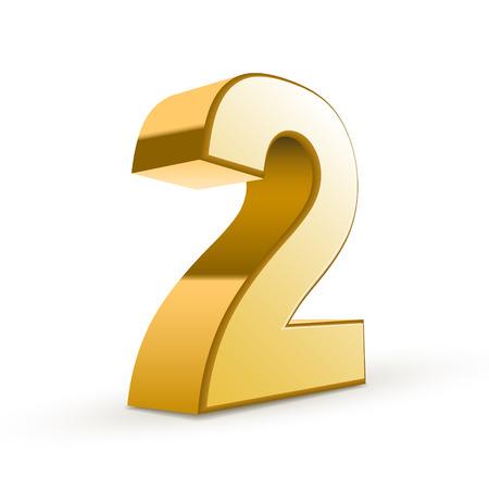 3d shiny golden number 2 on white background