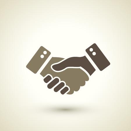 manos: handshake icono de estilo retro aislado sobre fondo marrón