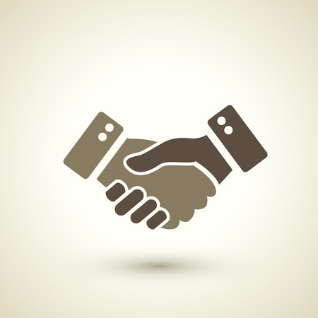 retro style handshake icon isolated on brown background Illustration