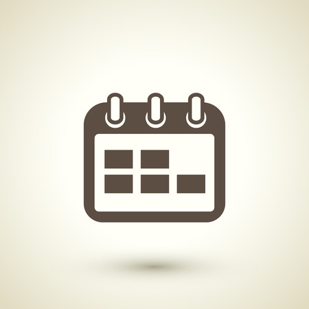 guidebook: retro style calendar icon isolated on brown background