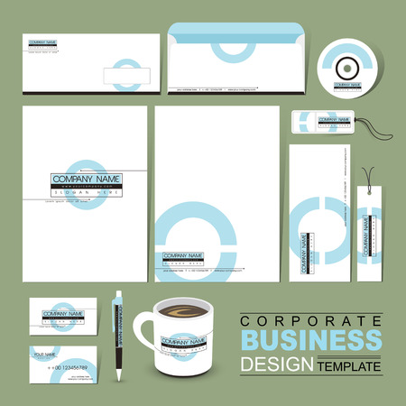 business corporate identity template with white blue circle Фото со стока - 29788788