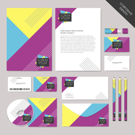 profusion: abstract corporate identity set graphic design of geometry colorful