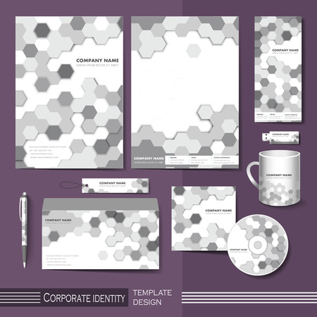 corporate identity template with gray honeycomb elements Vector