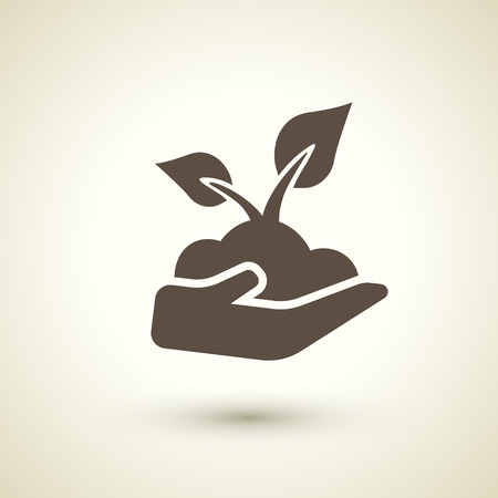 environmental protection: retro style seedling icon isolated on brown background