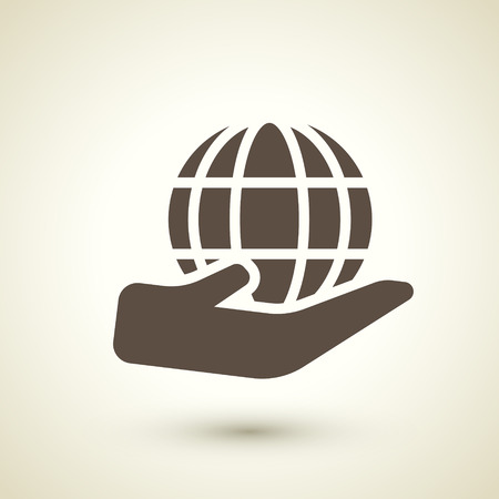 transnational: retro style global business icon isolated on brown background