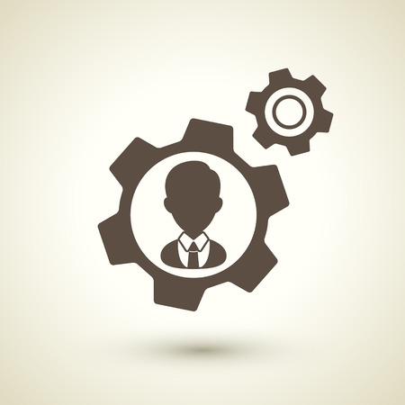 retro style human resources icon isolated on brown background Illustration
