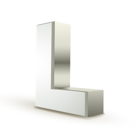 l natural: 3d silver letter L isolated white background Illustration