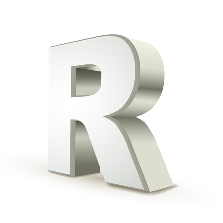 letter r: 3d silver letter R isolated white background