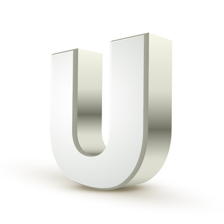 letter u: 3d silver letter U isolated white background Illustration