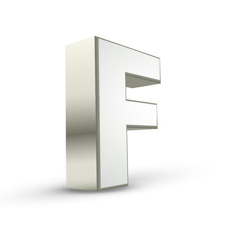 letter f: 3d silver letter F isolated white background