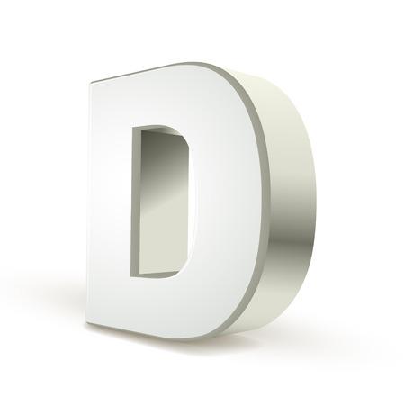 letter d: 3d silver letter D isolated white background Illustration