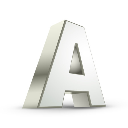 metal letter: 3d silver letter A isolated white background